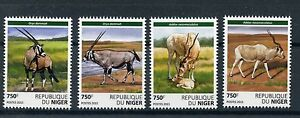 Niger 2015 MNH Antelopes 4v Set Wild Animals Deer Addax Scimitar Oryx Stamps