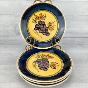 Gibson-ANTIQUE-VINEYARD-Cobalt-Band-Grape-Cluster-Salad-Dessert-Plates-Set-4