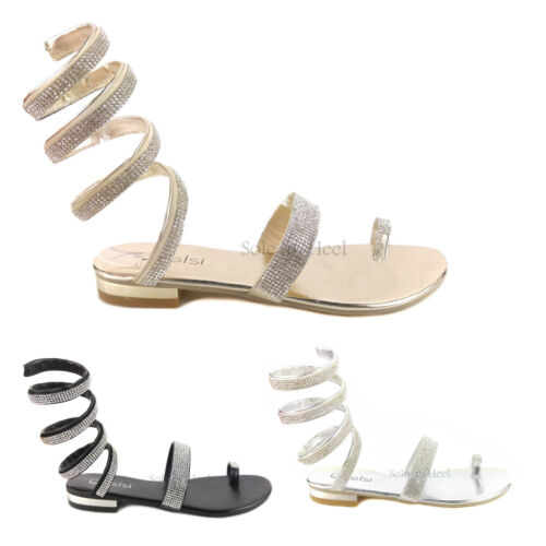 Womens Ladies Crystal Diamante Bridal Wedding Summer Strappy Sandals Shoes Size
