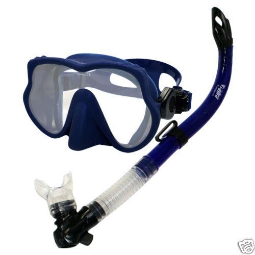 Scuba Dive Spearfishing Frameless Mask with Semi Dry Snorkel Gear Set