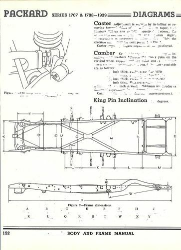 1939 Packard 1707 Nos Frame Dimensions Alignment Specs Ebay