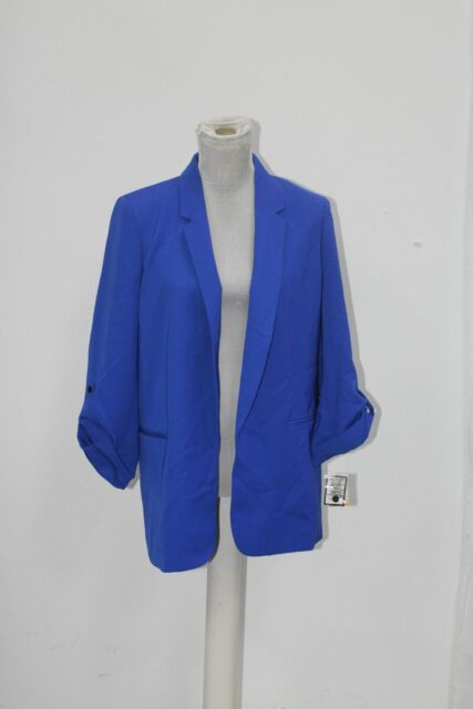 Nine West Womens Open Front Blazer Jacket, Blue, Size Small