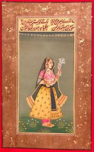 Hand-Painted-Mughal-Maharani-Queen-Portrait-Miniature-Painting-India-Paper
