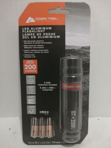 Ozark trail Aluminium 200 Lumens LED Flashlight Battery Included