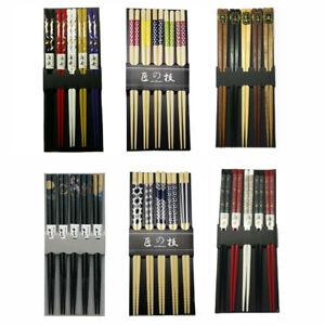 5 Pair Chinese Japanese Sushi Reusable Wooden Chopsticks Multi Pattern