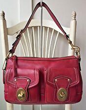 COACH LEGACY Berry Red Raspberry Leather 12868 Satchel Shoulder Bag Handbag $348