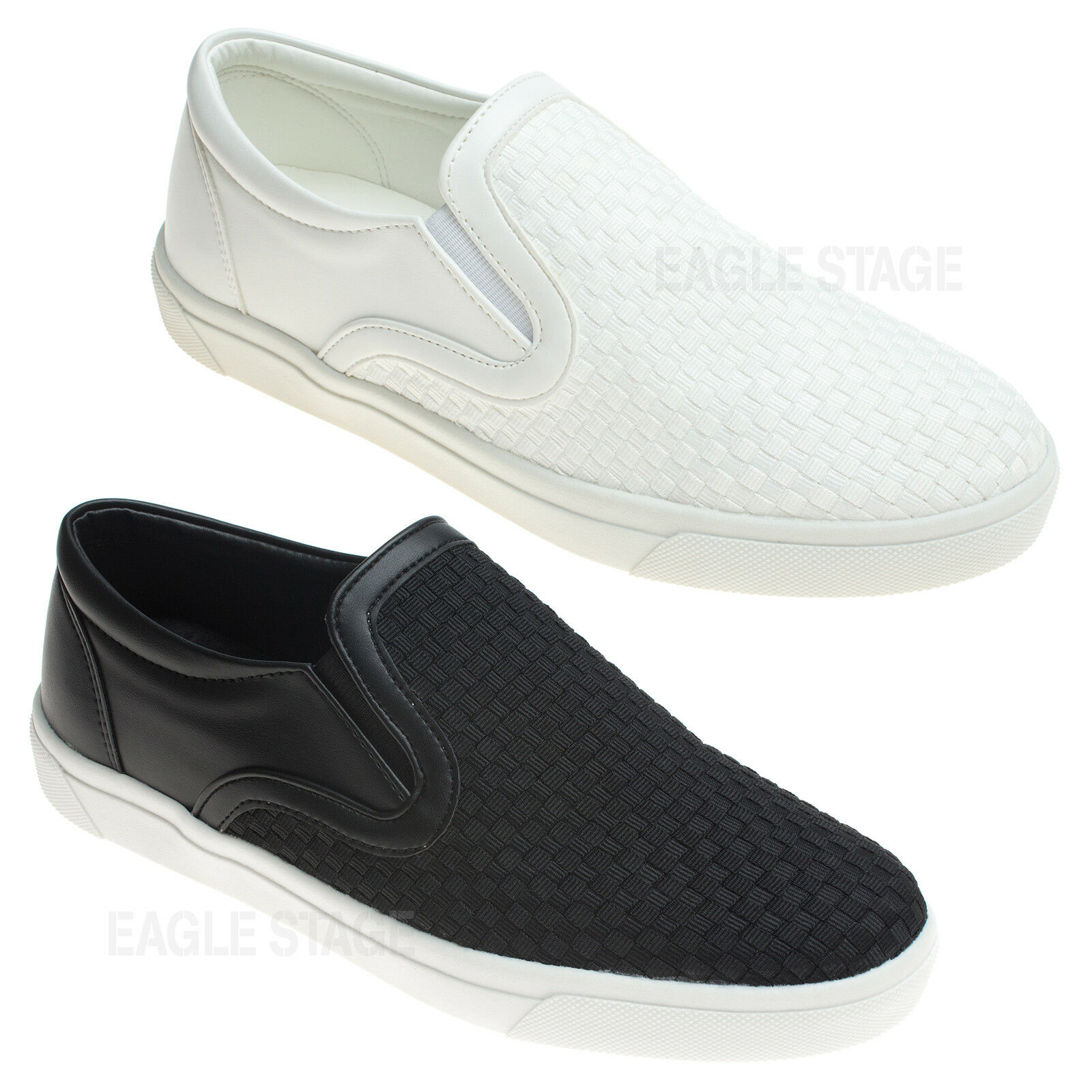 Mens Woven Slip-On Sneakers Loafer Casual Walking Fashion Sneakers Slip-On 77ff42
