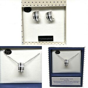 Platinum Plated Sparkly Necklace & Earring Set with Cubic Zirconia Detail Ring