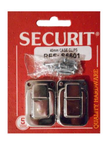 BRIGHT CHROME S6601 pack de 2 Securit 40 mm CASE Clips Nickel Plaqué