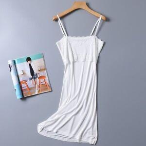 Vestido-de-Encaje-mujeres-Floral-Deslizamiento-De-Seda-Pura-Camisola-Correa-Enagua-Camison-Blanco