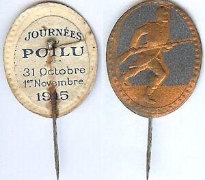 Insigne-de-journees-1914-1918-Journee-poilu-1915-violet-personnage-tour-cuivre