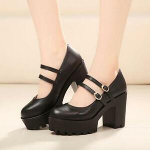 Vintage-Womens-Mary-Jane-Round-Toe-Platform-Ankle-Strap-Chunky-Heel-Pump-Shoes-S