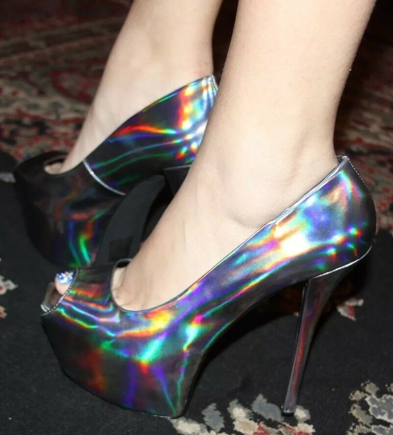 Bebe  MARISSA PEWTER PUMPS PLATFORM scarpe HEELS Dimensione 8