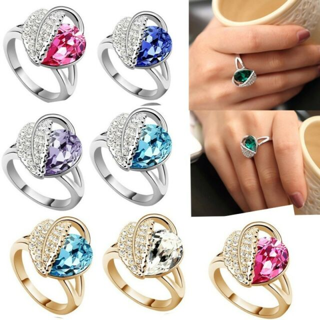 Hot Lady Crystal Finger Ring Rhinestone Silver & Gold Plated Jewelry