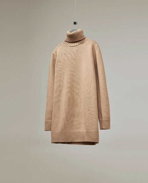 ZARA WOMAN STUDIO COLLECTION Camel Beige Roll Neck Wool Jumper Sweater Dress