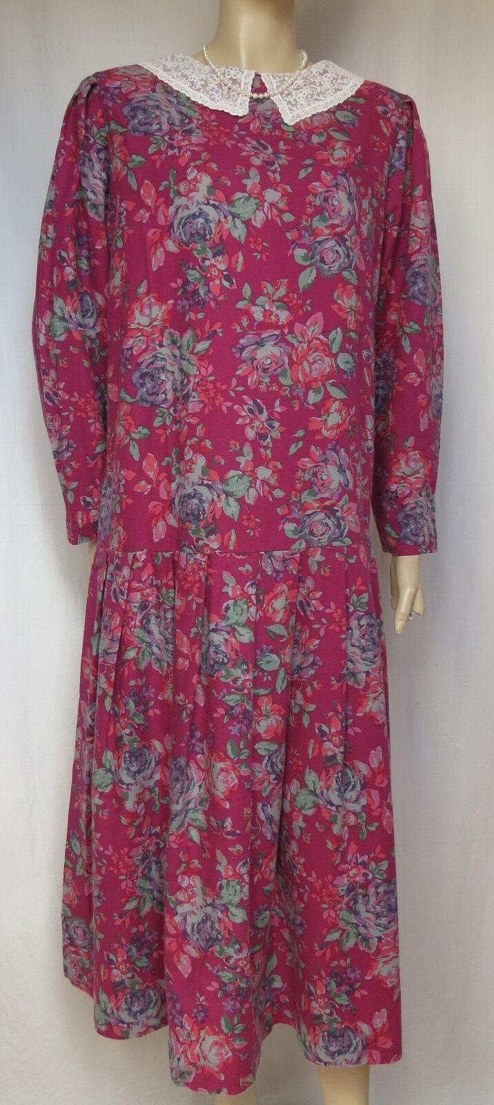 Laura Ashley Kleid Kleid Kleid 42 Rosan Blaumen Spitzenkragen lila Rosa grün m. Wolle vintage | Bekannt für seine gute Qualität  | New Product 2019  cbe539