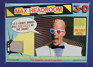 MAX-HEADROOM-3D-1986-Comic-Book-Promotional-Poster-Comico-15-3-4-x22-Mint