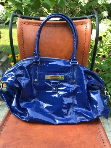 Klein Sac en cuir Calvin verni bleu 4ASc5Lq3jR
