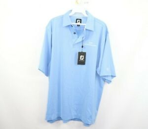 New-FootJoy-Mens-Medium-Pro-Dry-Solid-Lisle-Golfing-Golf-Polo-Shirt-Light-Blue