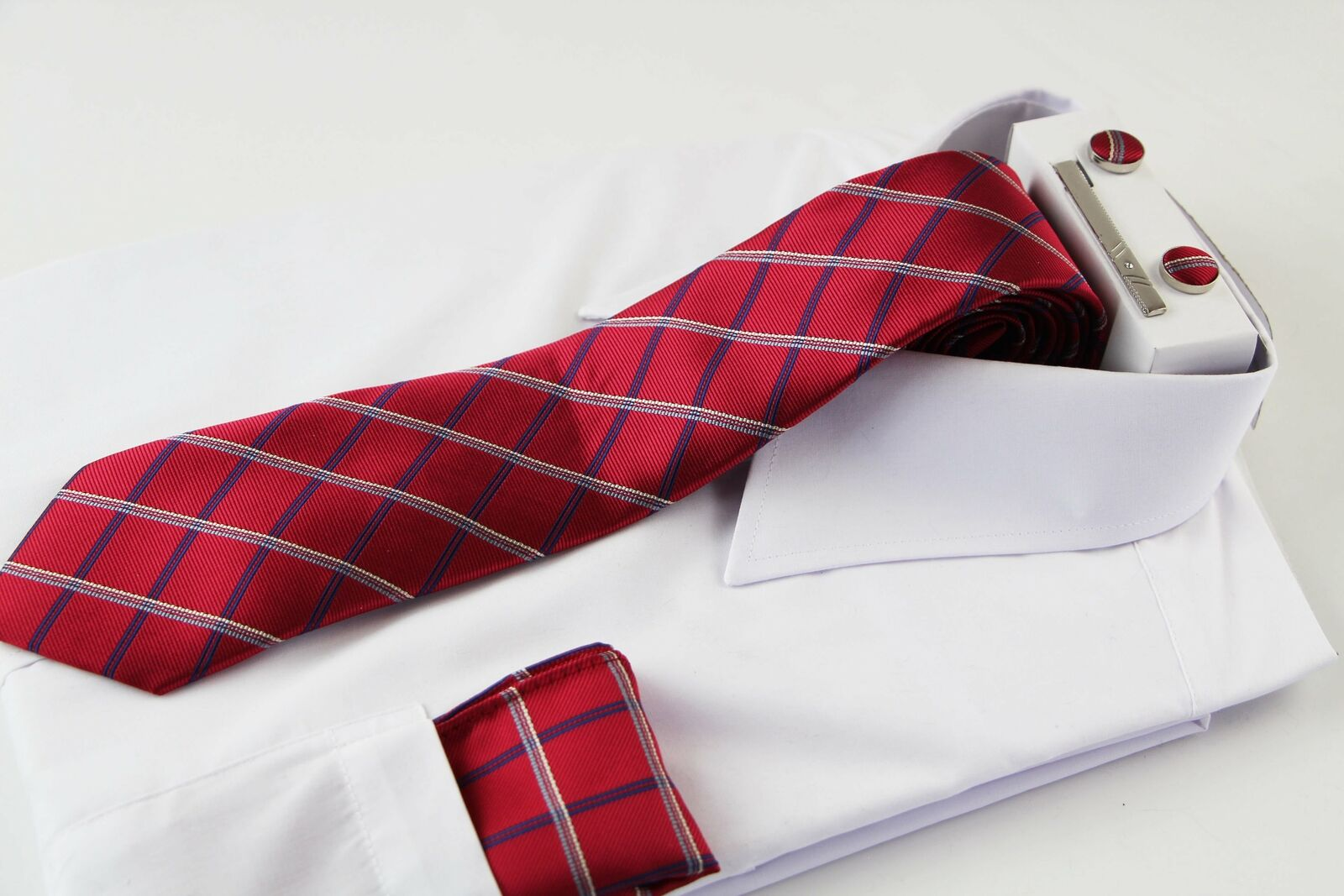 Mens Red & Navy Checkered Matching Neck Tie, Pocket Square, Cuff Links And Tie