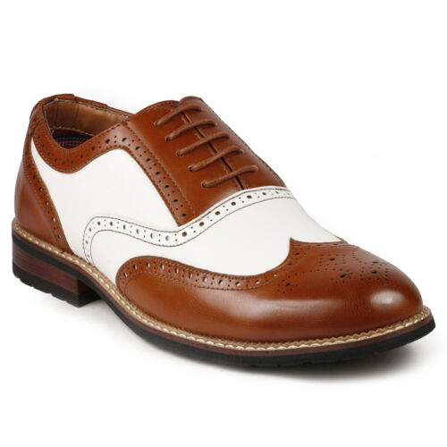 1930s Men's Clothing   Tan Brown / White Mens Perforated Wing Tip Lace Up Dress Oxford Shoe $27.99 AT vintagedancer.com