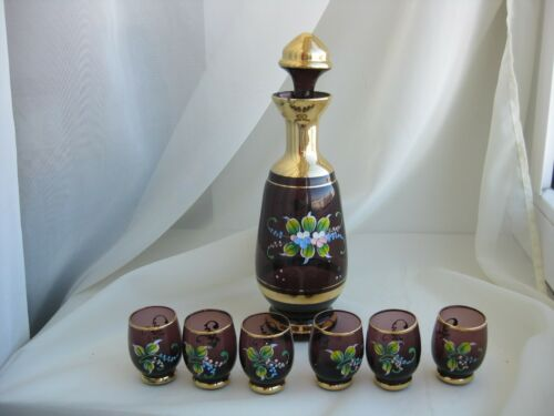 Vintage Set Bohemia cranberry Gilding Glass Decanter