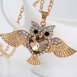 Women-Owl-Rhinestone-Crystal-Pendant-Necklace-Animal-Long-Sweater-Chain-Jewelry-gt