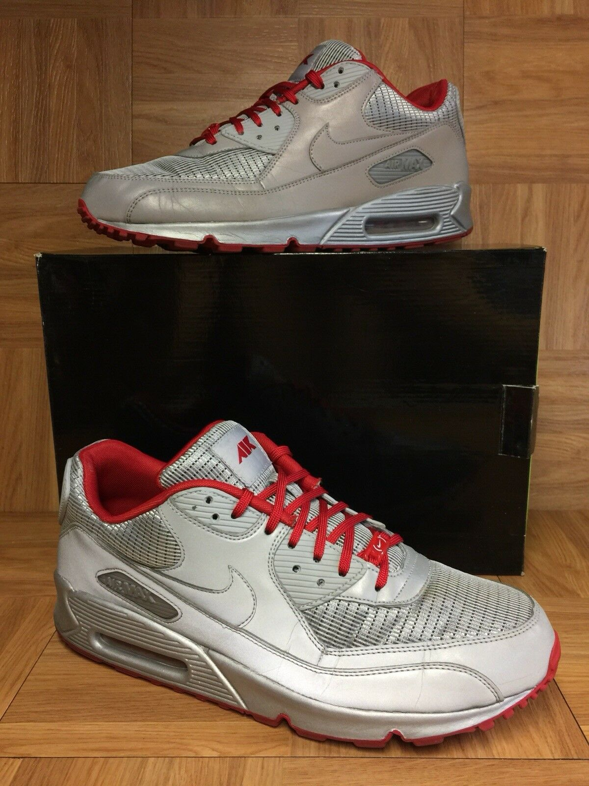 sale retailer faa6a ccf1f ... promo code for rari nike air max 90 argento sz metallico rosso attacco  pack sz argento