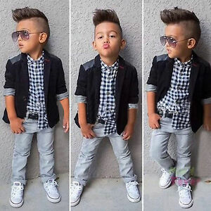 Image Is Loading Kids Boys Formal Suit Christening Wedding Dress Tuxedo