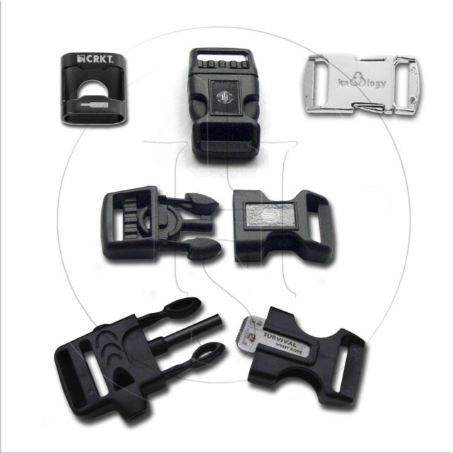 Premium Paracord Buckle Sampler-Handcuff Key,Silver Nito,FireStrike,BottleOpener