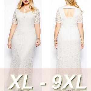Details about Women\'s Elegant Lace Party Dress Short Sleeve Summer Long  Maxi Dress Plus Size