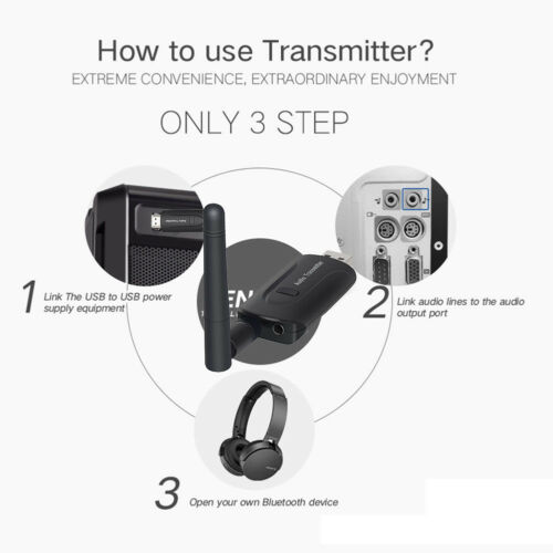 Wireless Bluetooth Transmitter Dongle 3.5mm Audio Stereo Adapter for TV Headset