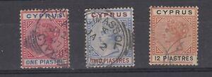 Cyprus-QV-1894-Set-Of-3-To-12pi-SG47-VFU-JK222
