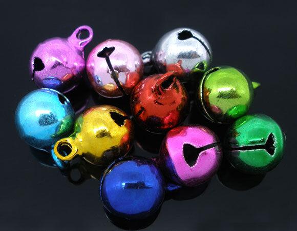 HELLO 50 Mixed Color Christmas Bells Charm Pendant 14x10mm