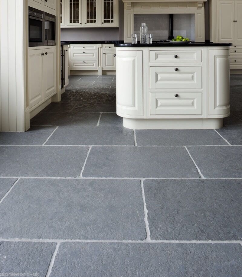 Sample Of Tumbled Cathedral Ash Grey Limestone Floor Tiles Slabs