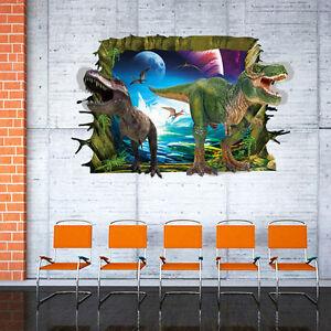 3D-Jurassic-Park-T-Rex-Dinosaur-World-Wall-Sticker-Decal-Mural-Kids-Room-Decor