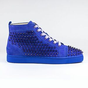 5c842753f06 Image is loading 100-Auth-Christian-Louboutin-Louis-Flat-Spikes-Suede-