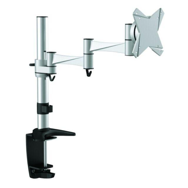 Astrotek Single Monitor Stand Desk Mount upto 27 Silver Tilt Swivel Rotate VESA