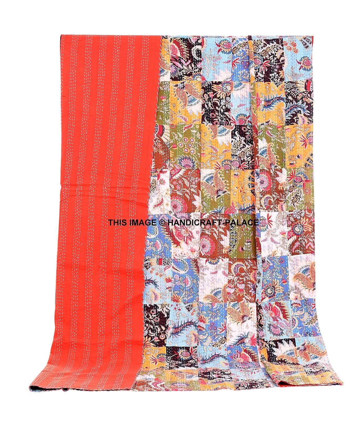 Indian Patchwork Vintage Queen Kantha Bedspread Throw Blanket Cotton Gudari
