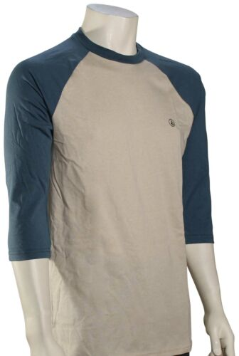 Volcom Solid Heather 3//4 Raglan T-Shirt Oatmeal New