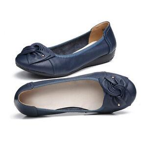 best service 04ecc 37463 Details about Balerinas de Mujer Zapatos de Piel Comodos Planos con Adorno