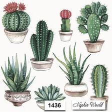 (1436) TWO Individual Paper LUNCHEON Decoupage Napkins - CACTUS CACTI PLANTS