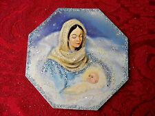 Vintage Image Glittered CHRISTMAS Ornament - MARY AND BABY JESUS