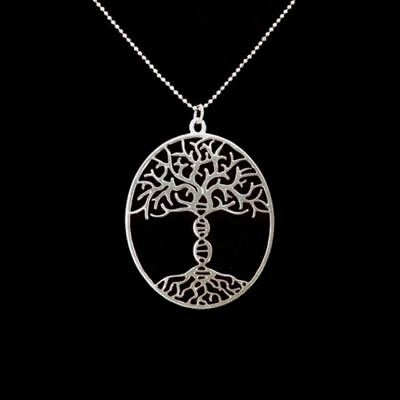 Silver Plated Tree of life DNA Trunk Necklace Bioscience Molecule Necklace