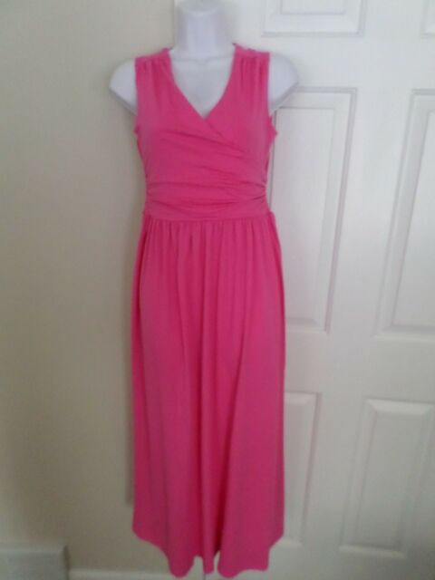 90702750c84 Lands  End Petite XXS Intense Pink Sleeveless Knit Surplice Maxi Dress NWT