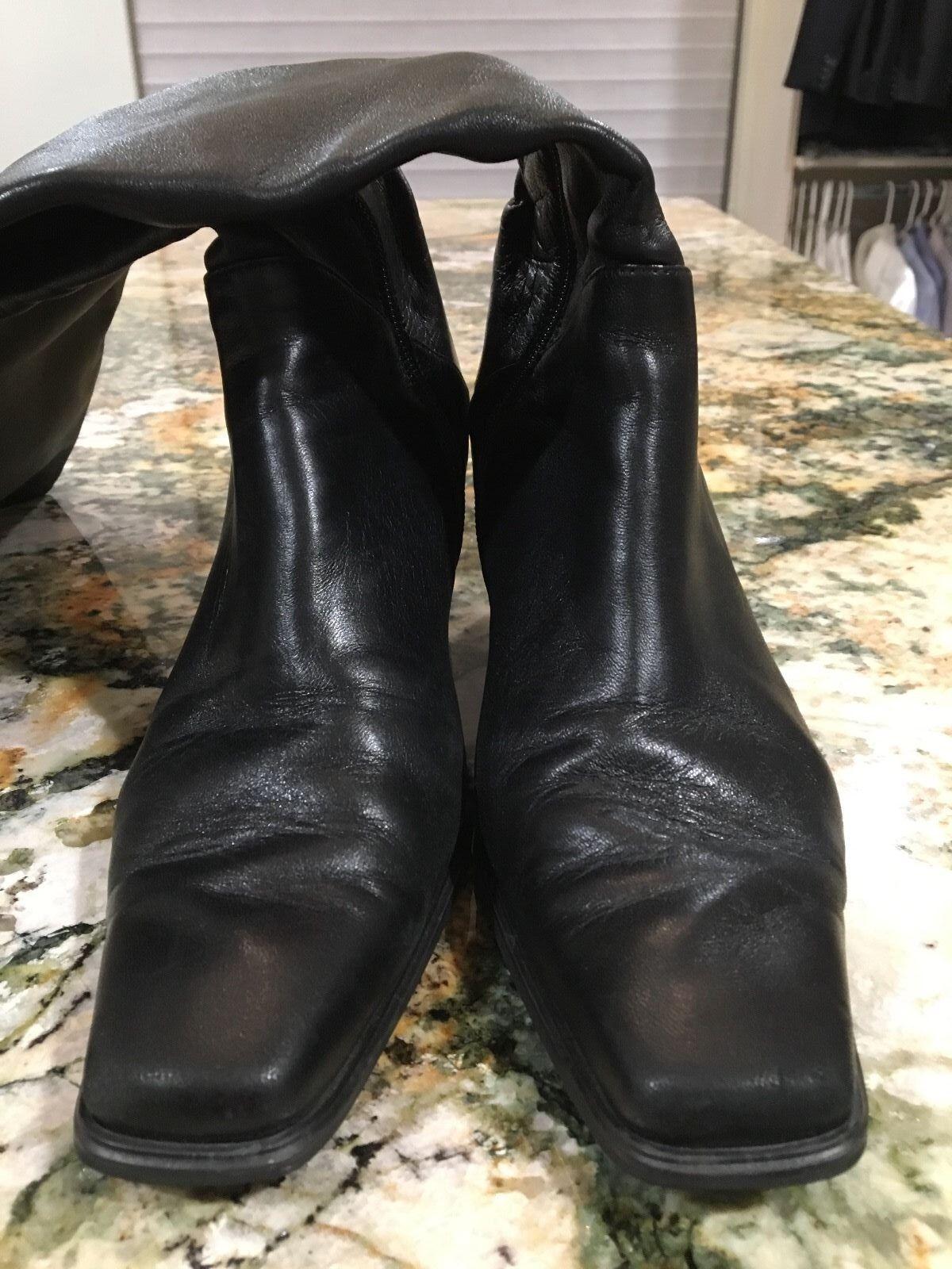 Womens Stuart Weitzman tall black leather zipper zipper zipper boots 8 1 2 4002ad