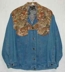 Carole-Little-Womens-Plus-Size-2X-Denim-amp-Horse-Print-Tapestry-Jean-Jacket