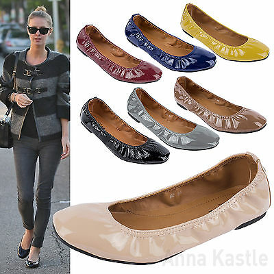 AnnaKastle New Womens Square-Toe Patent Leatherette Ballet Flat Shoes US 5 6 7 8