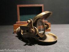 Antique Style Solid Brass Traveling Telescope Binoculars Monocular Wood Box