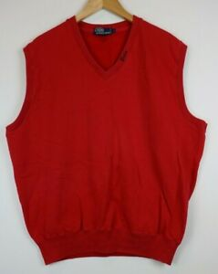 Vintage-Polo-Ralph-Lauren-Mens-Size-Large-Sweatshirt-Vest-Red-Embroidered
